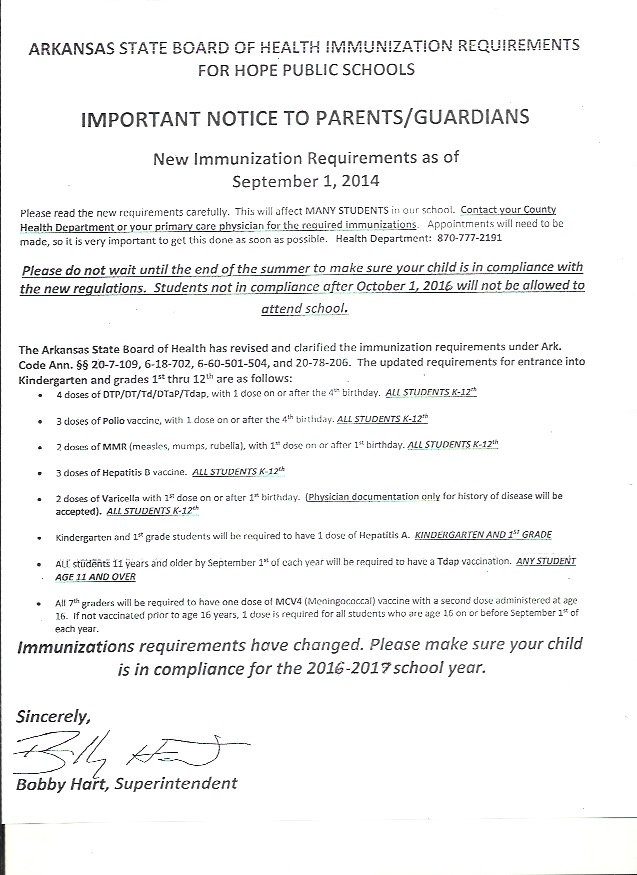 Immunization compliance notice